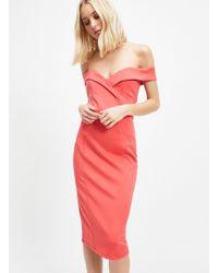 Miss Selfridge Coral Sweetheart Bardot Midi Dress - Pink