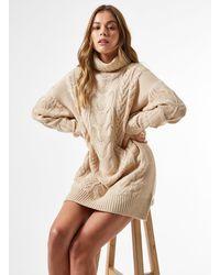 Miss Selfridge Camel Premium Cable Mini Knitted Dress - Natural