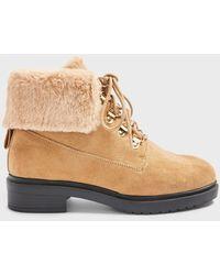 Miss Selfridge Wide Fit Boston Tan Faux Fur Hiker Boots - Brown