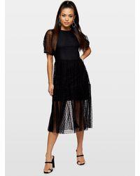 Miss Selfridge Petite Black Dobby Midi Dress