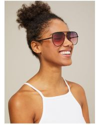 Miss Selfridge - Quay Australia Sahara Matte Gold/plum Aviator Sunglasses - Lyst