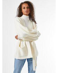 Miss Selfridge Ivory Belted Robe Cardigan - White