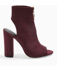Miss Selfridge Strike Red Block Heel Knitted Peep Toe Boot