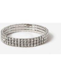 Miss Selfridge Silver Rhinestone Glam Bracelet - Metallic