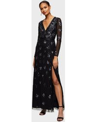 Miss Selfridge Black Embellished V-neck Long Sleeve Maxi Dress