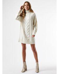 Miss Selfridge Ivory Premium Cable Mini Dress - White