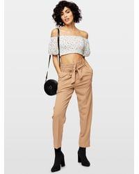 Miss Selfridge Camel Scuba Paperbag Pants - Natural