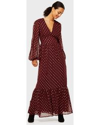 Miss Selfridge Burgundy Spot Print Lurex Maxi Dress - Red