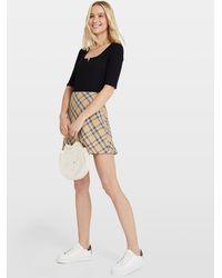 Miss Selfridge Beige Checked Mini Skirt - Multicolor