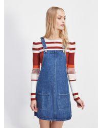 Miss Selfridge Mid Blue Denim Pocket Pinafore Dress