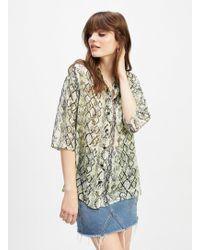 Miss Selfridge Multi Colour Oversized Sheer Snake Print Shirt - Grey