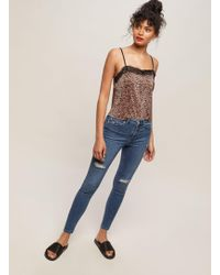 Miss Selfridge Lizzie High Waist Super Skinny Sky Blue Ripped Jeans