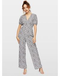 Miss Selfridge Black Cluster Floral Jumpsuit