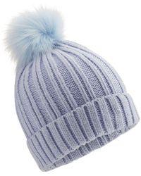 Miss Selfridge - Blue Faux Fur Pom Hat - Lyst