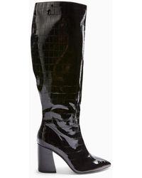 Miss Selfridge Olympia Black Crocodile Design Shaft Knee High Boots