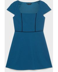 Miss Selfridge - Square Neck Piped Fit And Flare Dress - Lyst