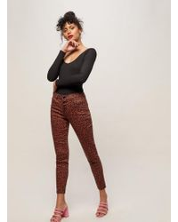 Miss Selfridge - Lizzie High Waist Skinny Fit Tan Animal Print Jeans - Lyst
