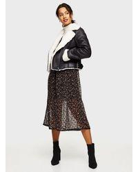 Miss Selfridge Black Contrast Faux Fur Aviator Jacket