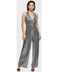 Miss Selfridge Silver Halter Sequin Jumpsuit - Metallic