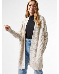Miss Selfridge Ivory Longline Cable Cardigan - White