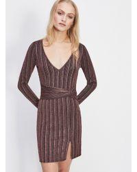 Miss Selfridge - Striped V-neck Bodycon Dress - Lyst