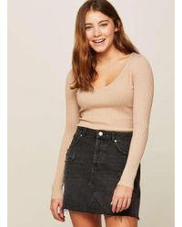 Miss Selfridge - Camel Lattice Back Rib Knitted Top - Lyst