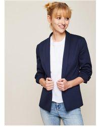 Miss Selfridge - Navy Ruched Sleeve Ponte Jacket - Lyst