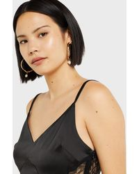 Miss Selfridge - Black Satin Lace Panel Camisole Top - Lyst