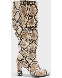 Miss Selfridge Oxford Natural Ruched Knee High Boots