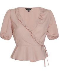 Miss Selfridge Pink Ruffle Wrap Blouse - Natural