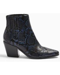 Miss Selfridge Bewitch Navy Western Boots - Blue