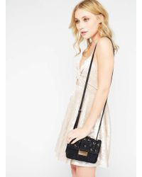 Miss Selfridge Table Lace Applique Cross Body Bag - Black