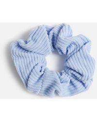 Miss Selfridge Pastel Blue Ribbed Fabric Scrunchie