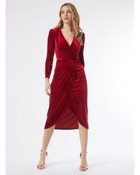 Miss Selfridge Red Velvet Long Sleeve Midi Dress