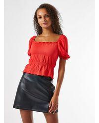 Miss Selfridge Red Shirred Fochette Top