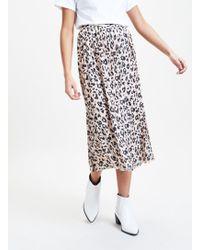Miss Selfridge Brown Pleated Leopard Print Midi Skirt