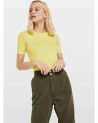 Miss Selfridge Chartreuse Short Sleeve Clean Rib T-shirt - Yellow