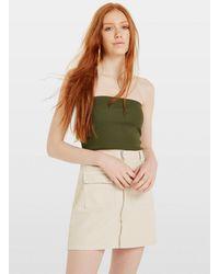 Miss Selfridge Khaki Sleeveless Textured Bandeau Top - Green