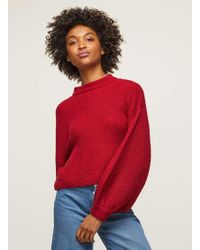 Miss Selfridge - Red Volume Sleeve Ribbed Knitted Jumper - Lyst
