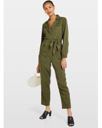 Miss Selfridge Khaki Utility Boiler Suit - Green