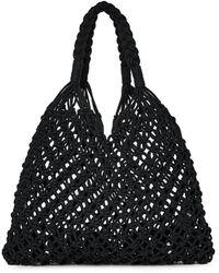 Miss Selfridge Amethyst Black Macramé Tote Bag