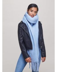 Miss Selfridge - Blue Oversized Brushed Scarf - Lyst