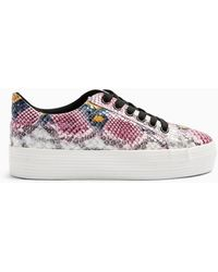 Miss Selfridge Trickster Multi Colour Snake Design Double Sole Trainers - Pink
