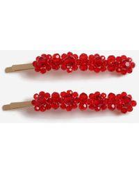 Miss Selfridge Red Bead Clip