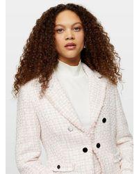 Miss Selfridge Petite Pink Boucle Jacket