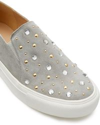 Miss Selfridge Effie Embellished Skater Slip On Sneakers - Gray