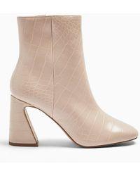 c40e2c5d233 Belini Cream Flared Heel Boots - Natural