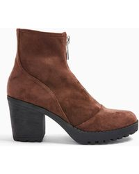 Miss Selfridge Buzz Brown Zip Front Cleated Boots