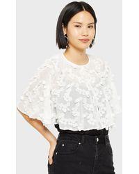 Miss Selfridge Ivory Embellished Cape Jacket - White