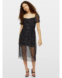 Miss Selfridge Petite Black Mesh Floral Print Midi Skater Dress